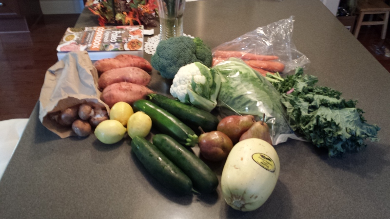 First CSA bag!  All organic, as much local as possible, some hydroponic.